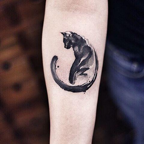 Colorful Black Cat Tattoos