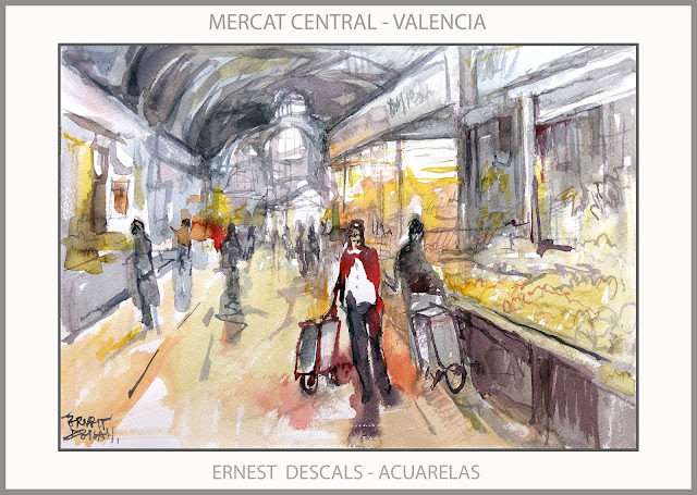 VALENCIA-PINTURA-MERCAT CENTRAL-MERCADO-ACUARELAS-PINTURAS-ACUARELA-INTERIOR-ARTISTA-PINTOR-ERNEST DESCALS-