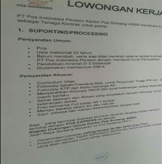 Karir Lowongan Kerja PT POS Indonesia Bandung Terbaru 2020