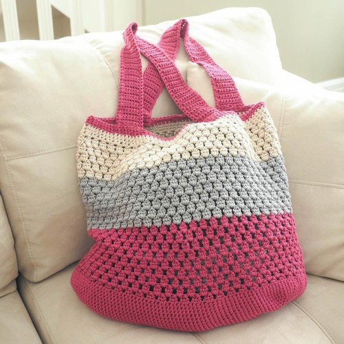 Puff Stitch Market Bag - Free Pattern