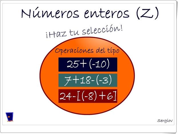 """""""Números enteros (Z)"""" (Juego de operaciones con enteros)"""