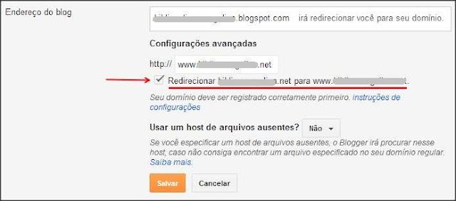 redirecionar dominio sem www