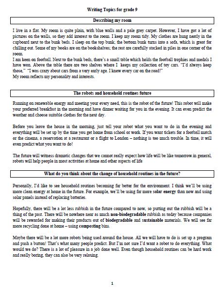 مواضيع كتابة في مادة اللغة الانجليزية للصف التاسع