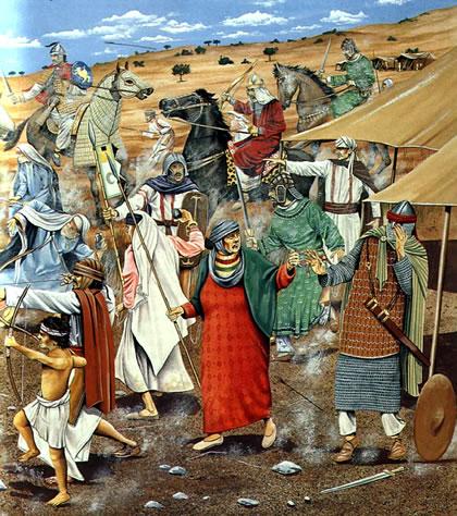 Muslim troops defending their position
