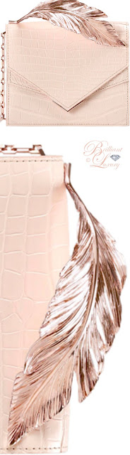 Brilliant Luxury ♦ Ralph & Russo feather clutch nude alligator rose gold feather detail