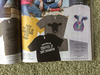"""catalog page showing tee that says """"Surviving on coffee and dry shampoo"""""""