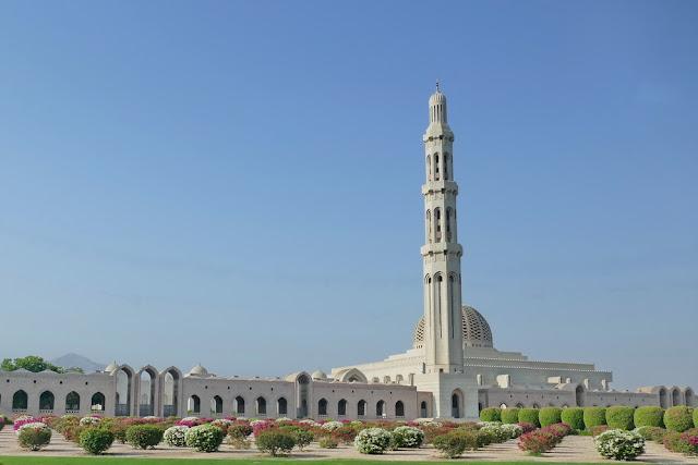 gross, Sultan, Qabus, Moschee, Muscat, Oman, Garten, Rosen, Blumen