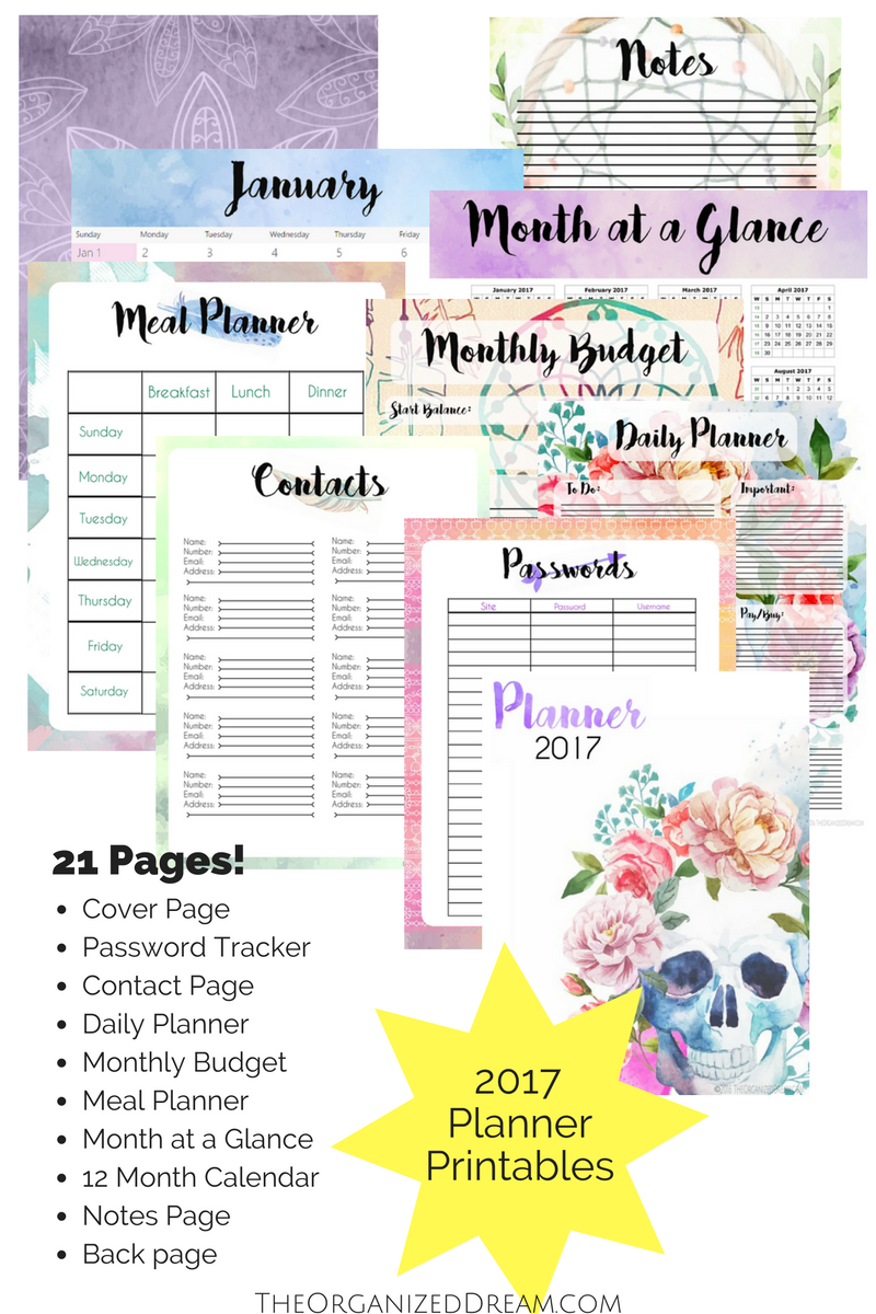 Free Calendar Planner : Free planners and month calendar the organized dream