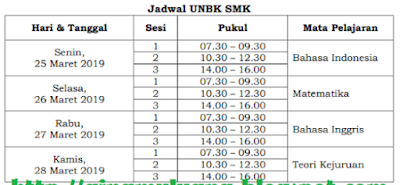 Jadwal UNBK SMA/MA Tahun 2019