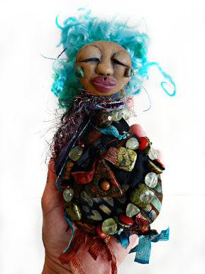 Finding Courage where the eddy meets the sierra - an OOAK Beaded Spirit Doll