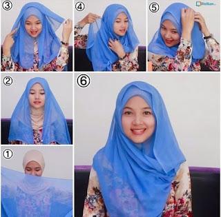 Contoh model hijab segi empat modis simpel