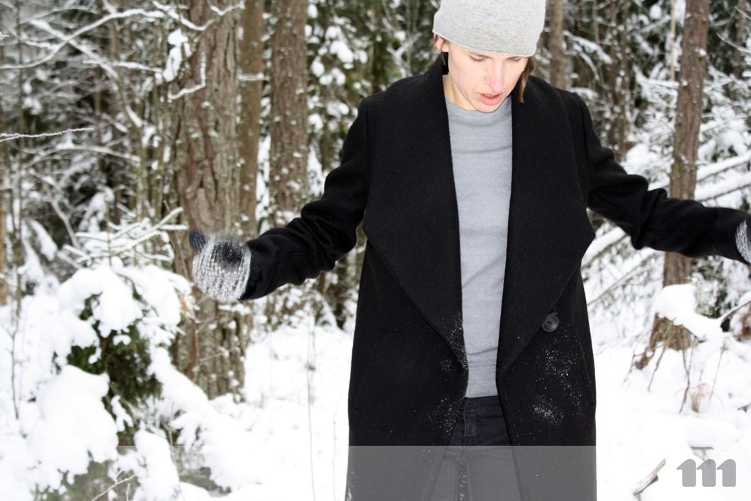 black winter coat welt pockets bound buttonhole