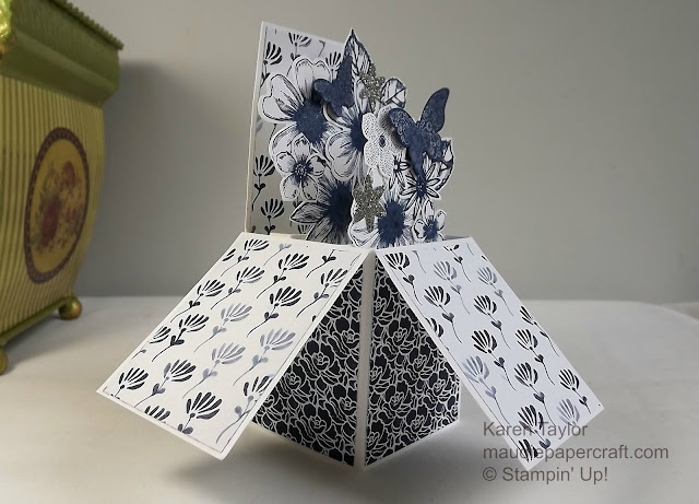 Stampin' Up! Floral Boutique box card in Night of Navy