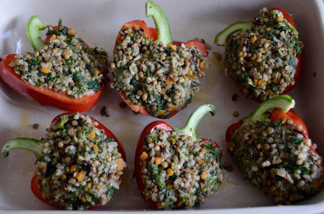 LENTIL, RICE AND KALE STUFFED PEPPERS WITH TOMATO SAUCE