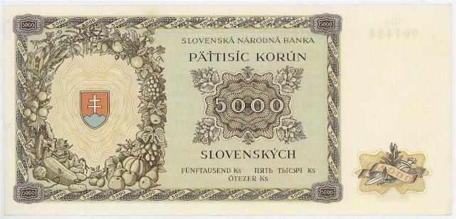 Slovakia currency 5000 Slovak koruna banknote notes bill