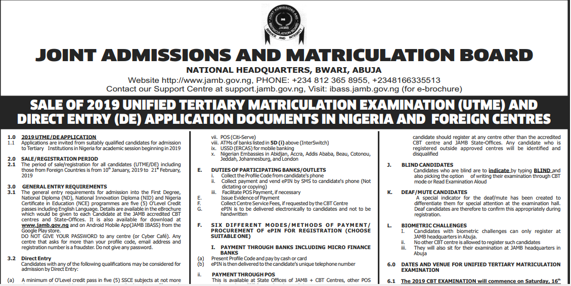 JAMB UTME Registration Form 2019/2020 [Nigeria & Foreign