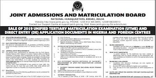 JAMB UTME/DE Registration Form 2019/2020 [Nigeria & Foreign Centers]