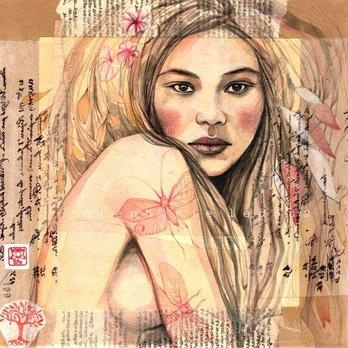 Stephanie Ledoux collage drawings