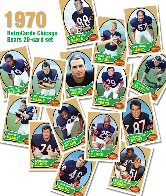 Topps football cards Brian Piccolo, Craig Baynham, Dan Hale, Mike Hull, Major Hazelton, Harry Gunner, Bob Hyland, Dan Pride, Ross Montgomery, Bobby Joe Green, Bobby Douglass, Linzy Cole, Wayne Mass, Joe Taylor, Ronnie Bull,  Ed Obradovich, Ray Ogden, Jeff Churchin, Gale Sayers/Dick Butkus