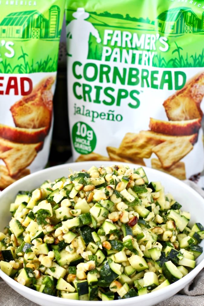 Corn and zucchini salad with cornbread crisps
