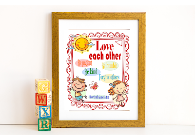 Love each other Bible verse kids printable