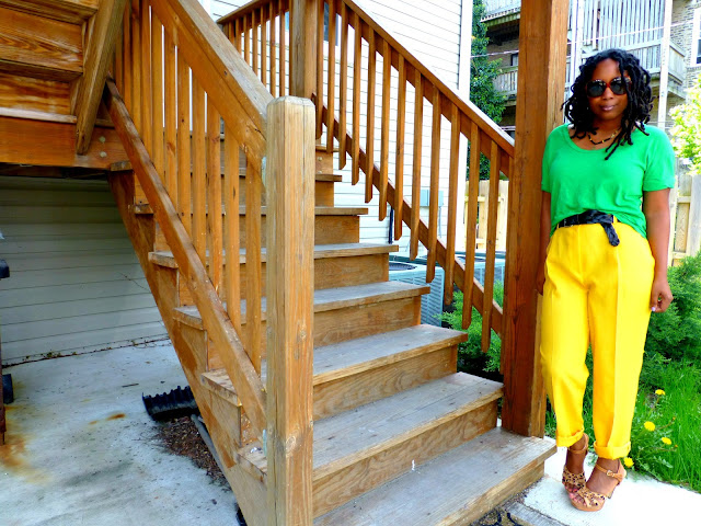 yellow thrift store pants