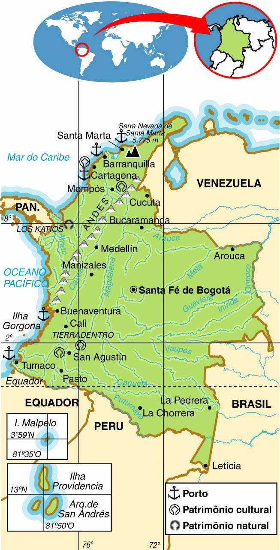 COLÔMBIA, ASPECTOS GEOGRÁFICOS E SOCIOECONÔMICOS DA COLÔMBIA