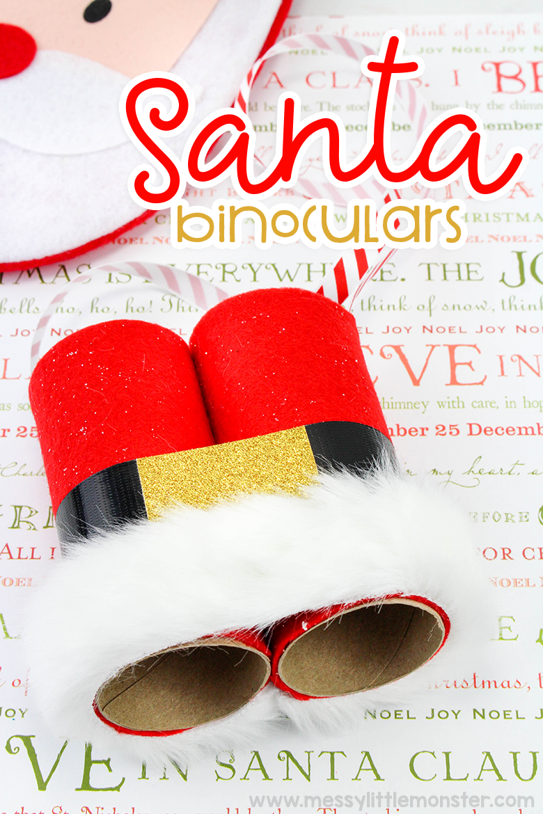 Santa Binoculars - Christmas crafts for kids. A fun christmas eve activity for toddlers and preschoolers.