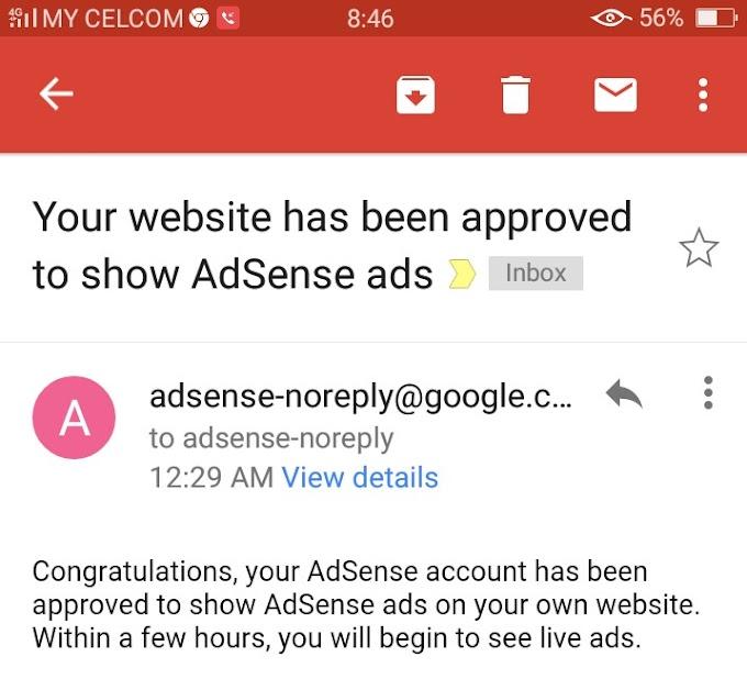 Google Adsense approved selepas sebulan tukar domain