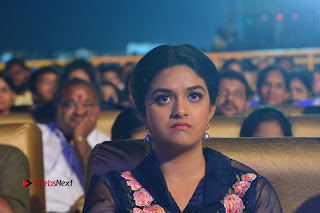 Actress Keerthi Suresh Stills in Blue Long Dress at Nenu Local Audio Launch  0064.JPG