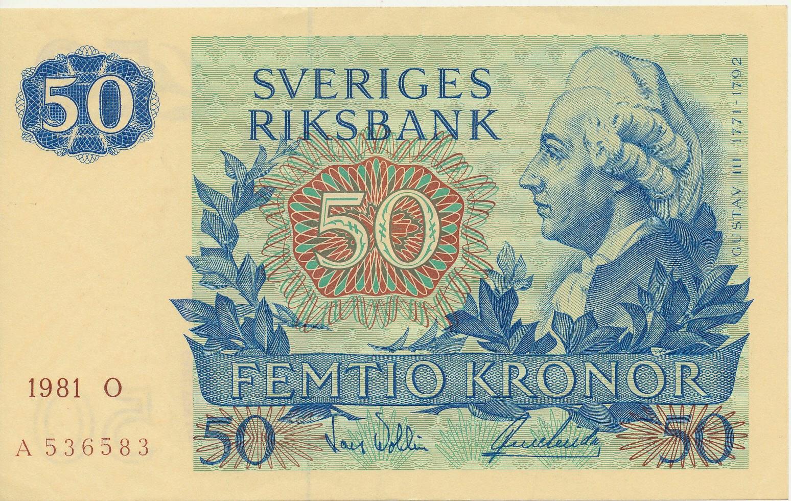 Sweden banknotes 50 Swedish Krona note 1981 King Gustav III of Sweden