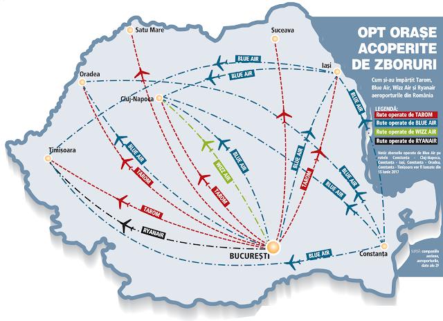 Harta zborurilor interne din România