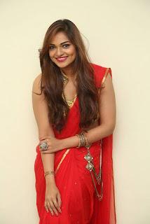 Actress Ashwini Po Shoot Stills In Red Saree With Golden Choli (11).jpg