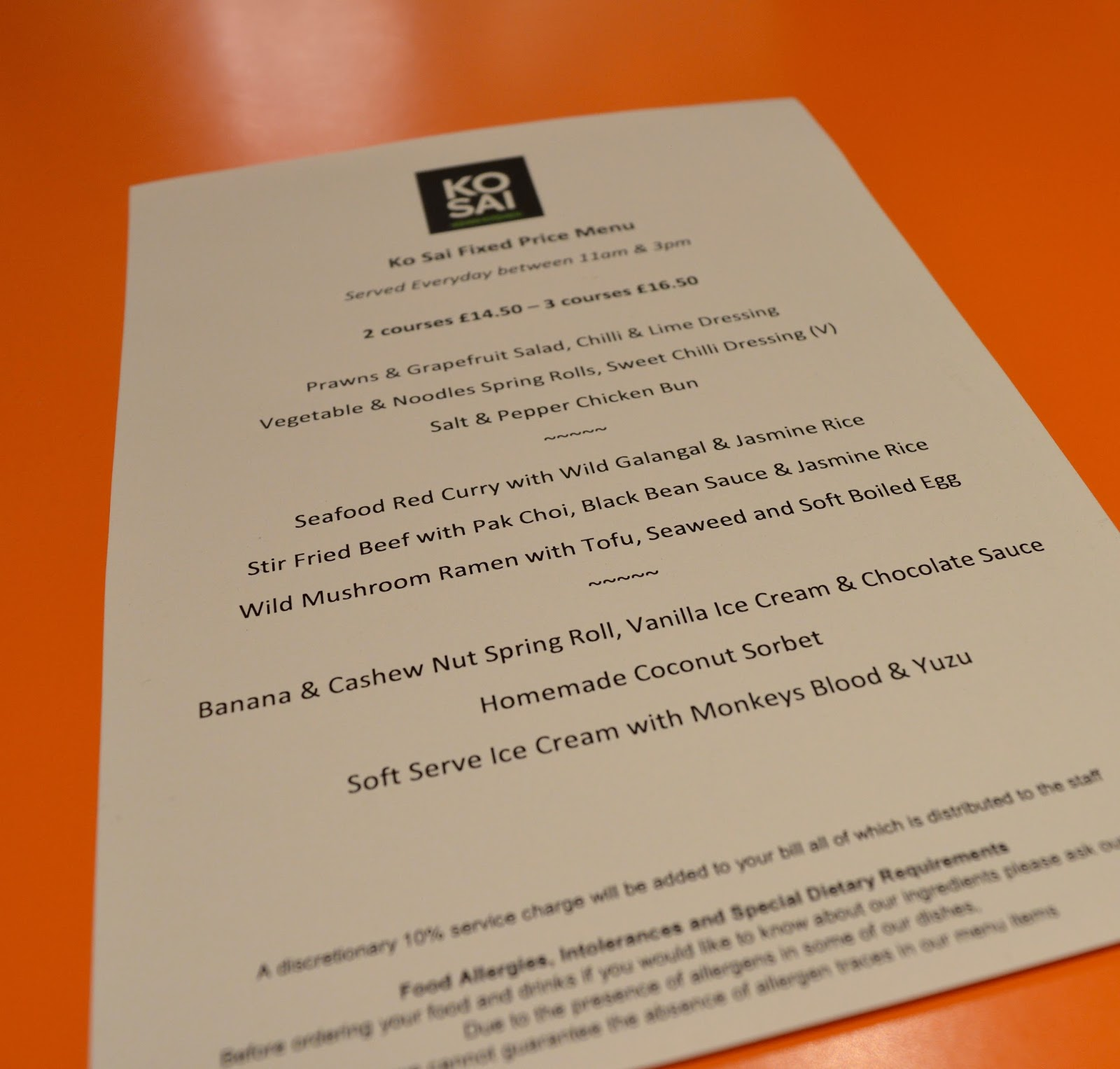 Ko Sai Newcastle - Fixed Price Lunch Menu | A Review - picture of menu