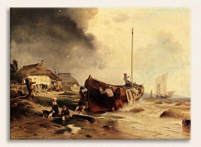 Andreas Achenbach, Kıyıda Balıkçı Teknesi tablosu