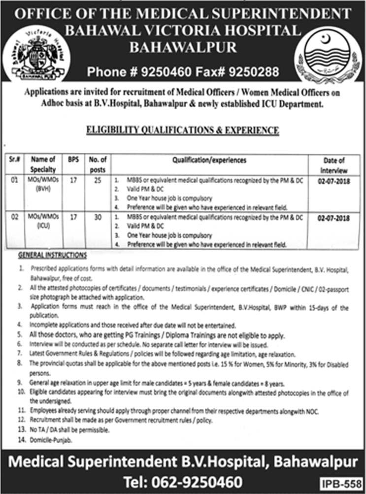 Latest Jobs Vacancies in Bahawal Victoria Hospital June 2018