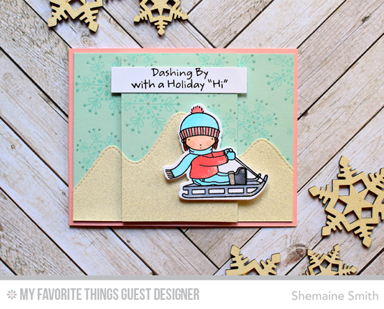 Handmade card from Shemaine Smith featuring Snowflake Flurry and Pure Innocence Dashing By stamp sets and Stitched Mountain Range Die-namics #mftstamps