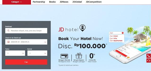 Pesan hotel dengan mudah di JD Hotel