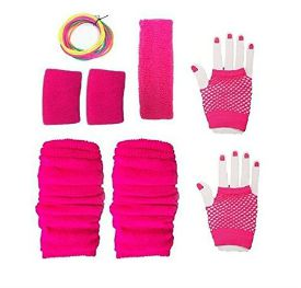 Neon Pink 80s Accessory Kit for Ladies