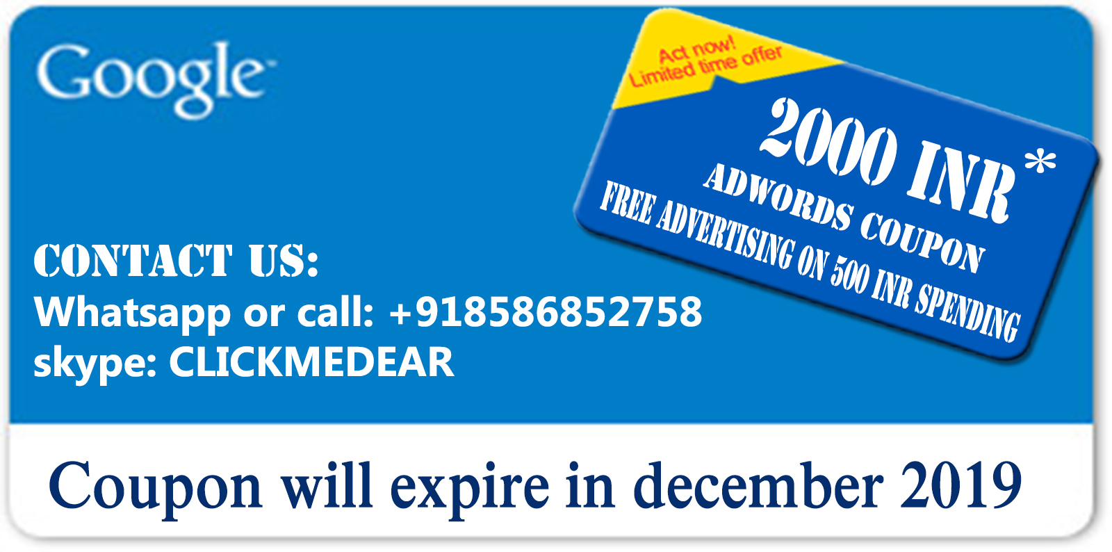 Adwords coupon 2000 for india | spend 500 get 2000 inr | adwords