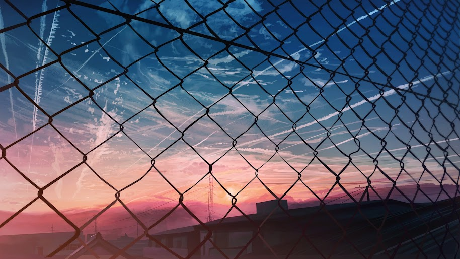 Anime, Scenery, Fence, Sky, Sunset, 4K, #160