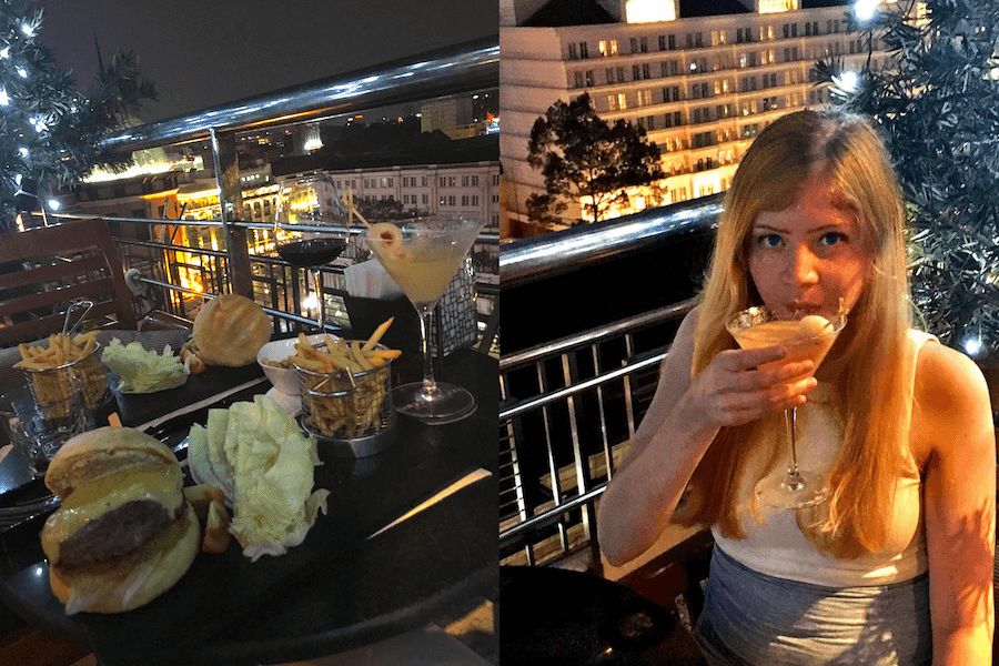 rooftop bar saigon with me and food