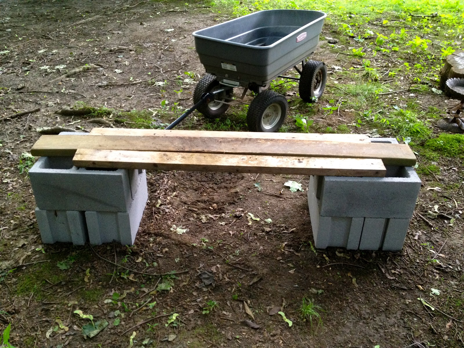 Monsoon Rains: Cinder Block Garden Bench