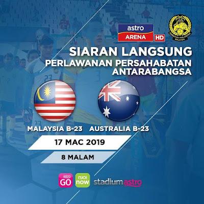 Live Streaming Malaysia U22 vs Australia U22 Friendly Match 17.3.2019