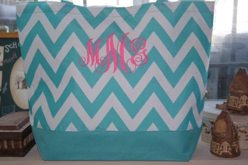 Turquoise CHEVRON Tote Bag