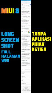 tangkapan layar panjang halaman web di miui 8