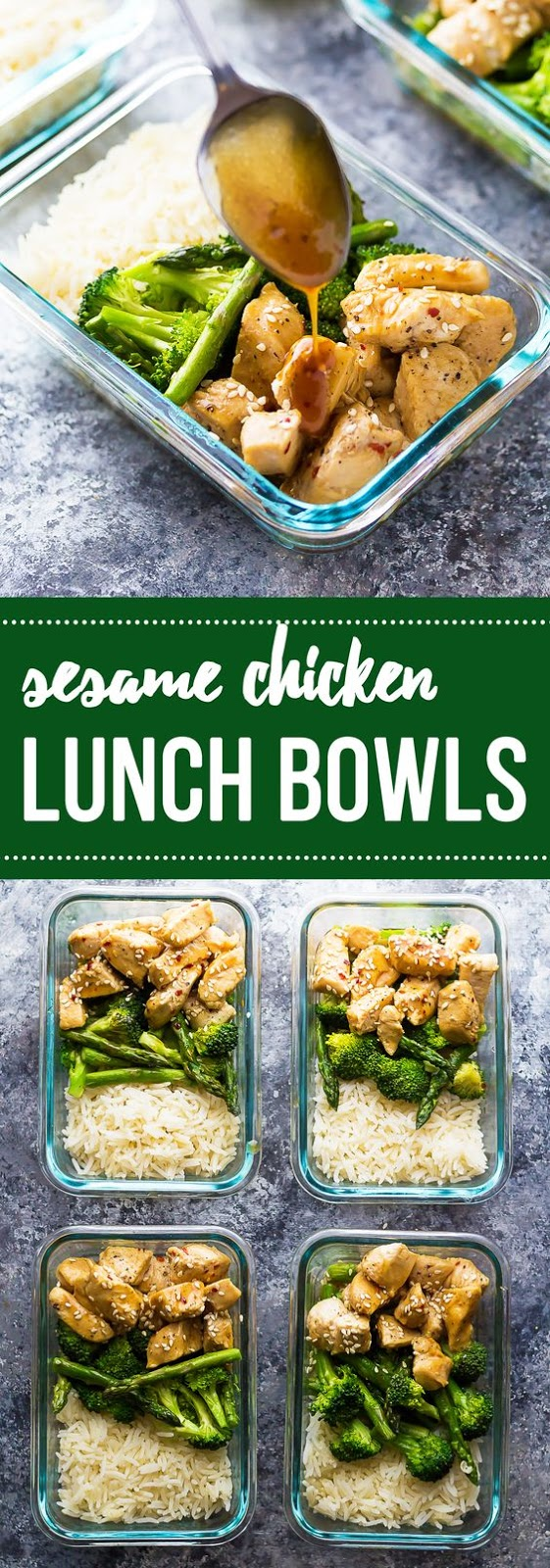 Honey Sesame Chicken Lunch Bowls #honey #sesame #chicken #chickenrecipes #lunchrecipes #lunchideas