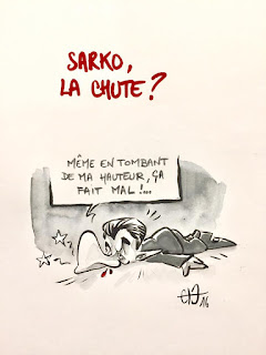 Caricature sarkozy Il tombe à point mon nez... ©Guillaume Néel