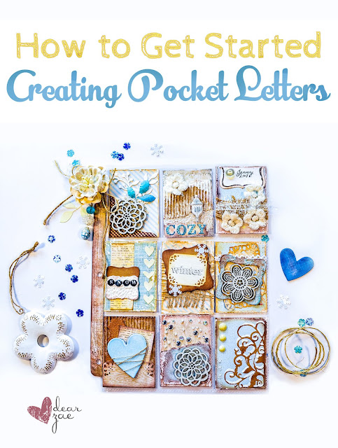 How to create pocket letters, how to find pocket pals, winter themed pocket letter with chipboard, snowflakes, lace and sparkles done in blue and beige neutrals