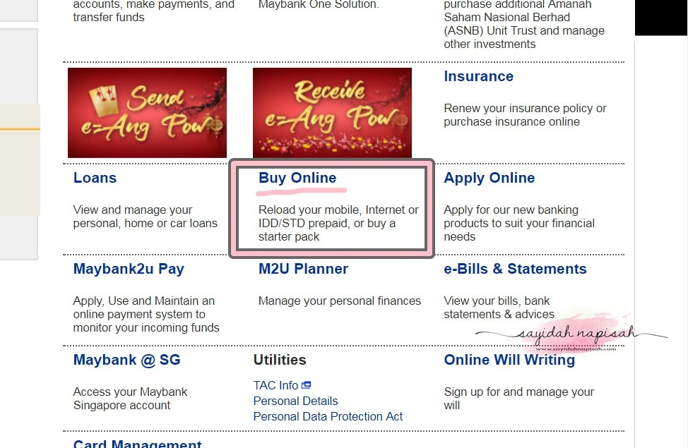 Cara Topup Online Guna Maybank2u | Maxis/Celcom/DIGI/UMobile/etc.
